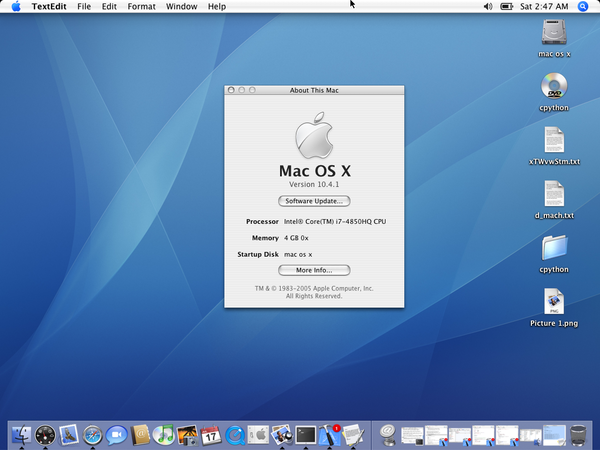 OS X 10.4 desktop with About This Mac window