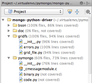 Unittests' code coverage in PyCharm